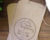 Wedding Favor Bags, Rustic Candy Buffet Sacks, Custom Wedding Favors, 25 Cake Bags,  Recycled Brown Paper Personalized Printed Sack