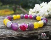 Cheerful Outlook, Chalcedony, Pink Banded Agate & Amethyst Gemstone Mala Bracelet, Healing Reiki Energy, Yoga Jewelry, Chakra Bracelet