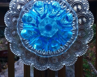 Glass Garden Flower-Bohemian Aqua Ice Garden Whimsy-Cottage Garden