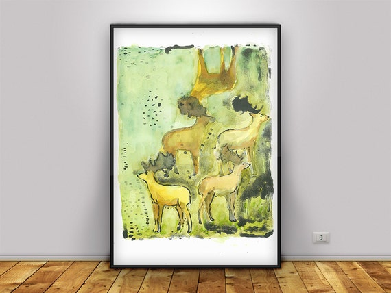 Printable art nature  Deer  Lithograph green and brown instant download