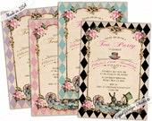 Birthday Invitation printable/Birthday party invitations/Mad hatter tea party invitations/Birthday invitation girl/Printable/Printed