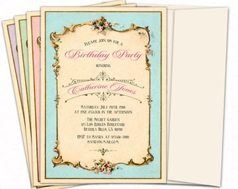 Adult Birthday party invitation. Vintage Birthday invitation. Birthday invitations for women. Birthday invitations adult. Printed or digital