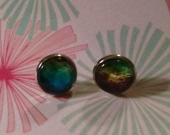 Green and blue space matter earrings