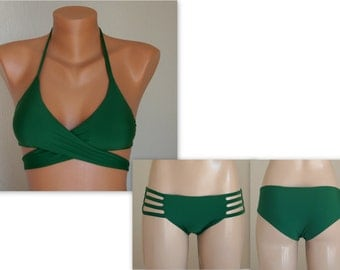PADDED Emerald Green wrap around bikini top and matching strappy bottoms -Swimsuit-Bathing suit-Swimwear-Choose your color-XS-S-M-L-XL
