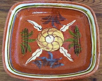 Vintage Tlaquepaque Mexican Redware Pottery Folk Art