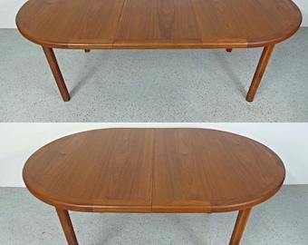 SALE mid century Danish modern teak oval expanding dining table w/ leaf