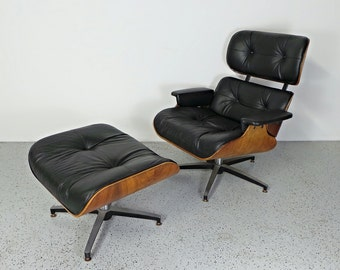 mid century modern Herman Miller Eames STYLE rosewood & walnut leather chair and ottoman