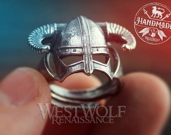 SKYRIM Iron Helmet Ring Made of .925 Silver - US Sizes 8/9/10/11/12/13/14 -- Dovahkiin / Dragonborn