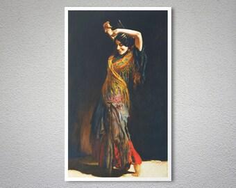 The Flamenco Dancer by Leopold Schmutzler -  Poster Paper, Sticker or Canvas Print