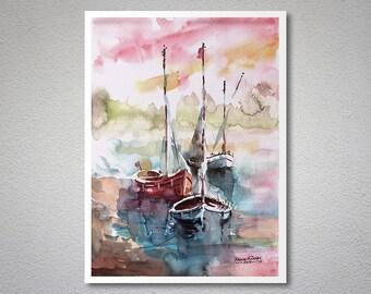 Boats are resting  Watercolor Painting by Faruk Koksal -  Print on 290 gr. Textured Fine Art Paper (matt)