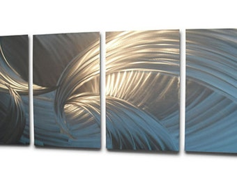 Metal Wall Art Decor Aluminum Abstract Contemporary Modern Sculpture Hanging Zen Textured- Tempest