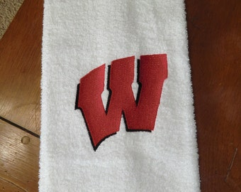 "Embroidered Hand Towel - Wisconsin ""W"""