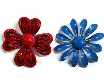 Vintage Enamel Flower Pins Red and Blue