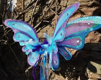 Large double panel blue fairy butterfly wings