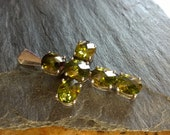 Sterling silver large cross pendant with green peridot faceted gemstones, ideal men or women