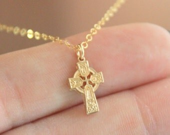 Celtic Cross Pendant Necklace Gold Filled Vermeil Small Dainty Little Necklaces Irish Jewelry Women Girls Gift