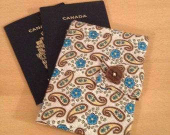 Passport Wallet, Passport Cover - 2 Passports - Blue and Yellow Paisley Pattern