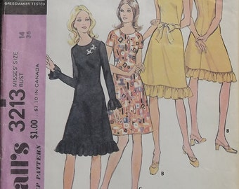 Vintage 1972 McCalls Dress Pattern With Sleeve Options