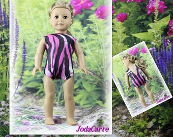Pink Zebra Leotard/Swim Suit for American Girl Doll