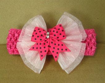 Baby Girl Headband and Bow, Pink Headband Polka Dot Hair Bow
