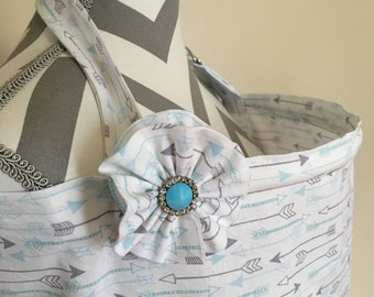 Arrows Nursing Cover - white, grey and blue arrows print nursing cover with a fabric flower clippie - Ready to ship
