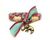 Elephant Silk Bracelet Bohemian Yoga Jewelry Handmade Animal Earthy Original OOAK Hemp Yogi Gift For Her Christmas Stocking Stuffer