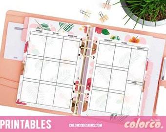 "A5 Printable Planner Weekly Inserts Pages 2 sheets Erin Condren Vertical Layout and Size 5.83"" x 8.27"" Filofax, Kikki K or similar planners"