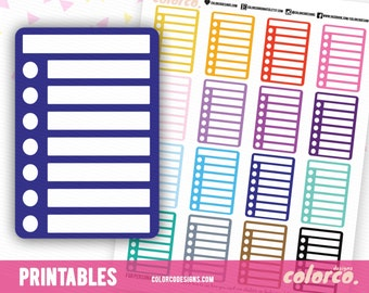 BLANK Stackable Sidebar Checklists Printable Planner Stickers Erin Condren Happy Planner Inkwell Plum Paper Instant Digital Download