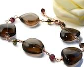 Smoky Quartz Bracelet, Rose Gold Jewelry, Handmade, Wire Wrapped, Pink Gold, Multicolor Gemstones, Tourmaline Bracelet