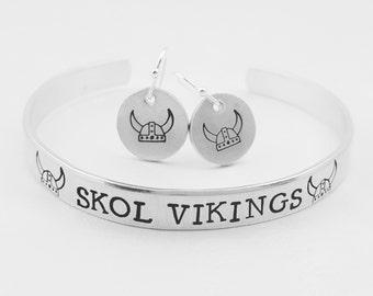 Vikings Bracelet, Skol Vikings, Norse Jewelry, Vikings Earrings, Norwegian Jewelry, Scandinavian Jewelry, Norway, Handstamped Bracelet