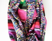Pink Mexican Serape and Navy Turquoise Pink Tribal Ikatl Knit Infinity Circle Scarf