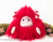 "Monster plush, yeti artist bear, red and white faux fur monster collectible toy, kawaii plush, art doll, fur fantasy creature ""Maple"""