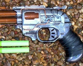 Steampunk Nerf Zombie Strike Doublestrike dart pistol left hand holster