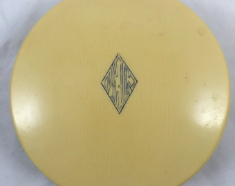 Vintage Bone Color Celluloid Trinket or Powder Box - Beautiful Condition - Deco Style
