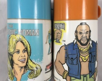Two Thermos Lot - The Bionic Woman and Mr. T - Both in Great Vintage Condition -  Aladdin