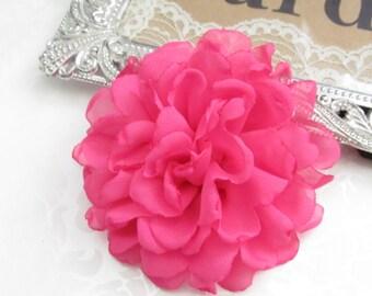 Hot Pink Fabric Flower / Hair Flower / Hot Pink Fabric Flower / Chiffon Flower   FLW-06   NO CLIPS