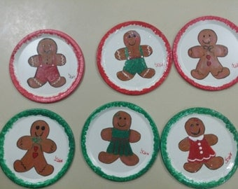 Hand painted wide mouth mason jar lid Gingerbread men