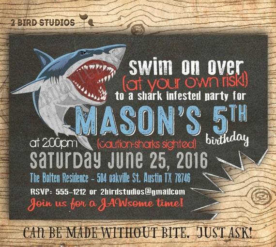 Shark Birthday Party Invitations gangcraftnet
