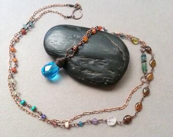 Romantic Elegant Long Necklace, Blue Faceted Quartz, Orange Carnelian, Hessonite Gemstones, Pale Blue Roman Glass Beads Vintage Copper Chain