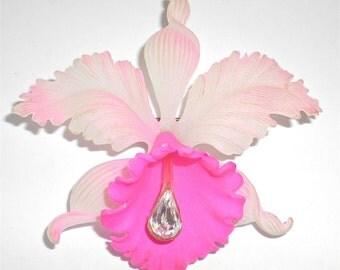 Pink Orchid Vintage Celluloid & Rhinestone Brooch Pin  circa 1960