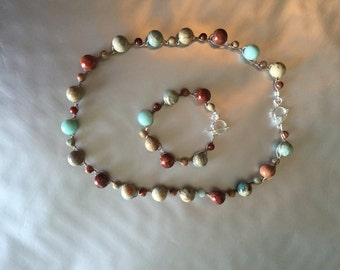 African Opal Necklace And Bracelet Set
