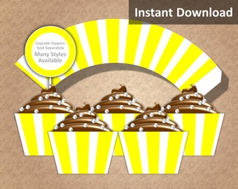 Yellow, White Stripe Cupcake Wrapper Instant Download, Party Decorations