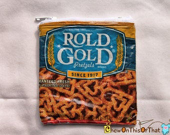 Rold Gold Heart Shaped Pretzels Upcycled Heartzels Repurposed Change Purse, Coin Pouch, Zipper Vinyl Wallet, Potato Chips Bag