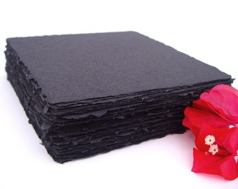 Black square handmade recycled cotton papers, deckle edge, 10 sheets, 6x6 inch