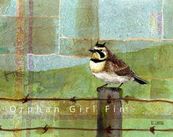 Horned Lark Painting, Lark Print, Bird Art Print, Bird Painting, Wildlife Painting, Animal Art Print, Bird illustration Orphan Girl Fine Art
