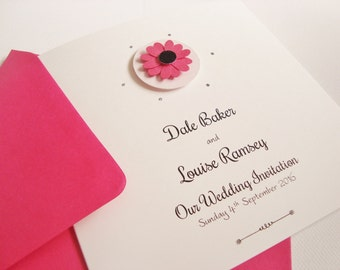 Personalised Handmade Daisy/Gerbera Flower Wedding Invitation Sample