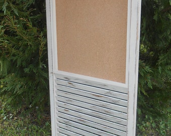 Bulletin Board Shutter-Repurposed Shutter- VINTAGE Shutter Message Holder-44 x 18  Shutter Corkboard -Office Organizer - Memo Board-