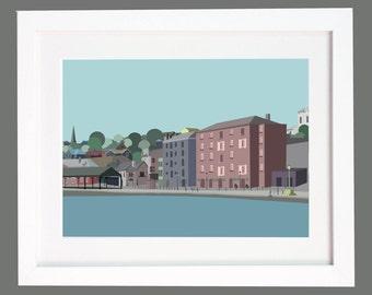 Exeter Quay, Devon Illustration Print