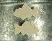 Raku Fish Magnet.  Refrigerator magnet.  White.  Ready to ship.  Free shipping.