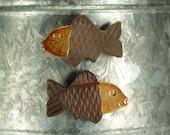 Raku Fish Magnet.  Refrigerator magnet.  Golden orange and brown.  Ready to ship.  Free shipping.